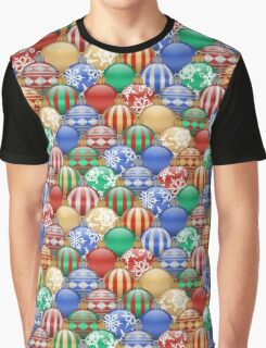 Colorful Decorative Christmas Ball Ornaments Pattern Graphic T-Shirt