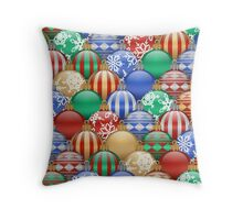 Colorful Decorative Christmas Ball Ornaments Pattern Throw Pillow