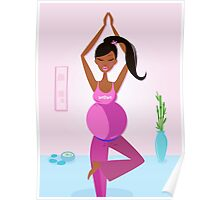 Preparation to be mom - pregnant woman practicing yoga excercise Poster