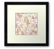 pattern with birds and flowers Framed Print
