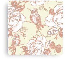 pattern with birds and flowers Canvas Print