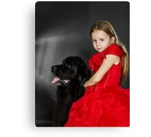 Beauty and the Beast. Little girl with big black water-dog portrait, isolated on grey Canvas Print