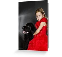 Beauty and the Beast. Little girl with big black water-dog portrait, isolated on grey Greeting Card