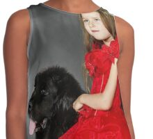 Beauty and the Beast. Little girl with big black water-dog portrait, isolated on grey Contrast Tank