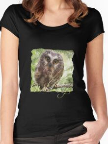 Wild Life Series - The Cute Brown Owl Women's Fitted Scoop T-Shirt