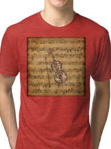 Vintage Sheet Music Violin Tri-blend T-Shirt