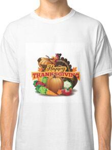Happy Thanksgiving turkey with cornucopia Classic T-Shirt