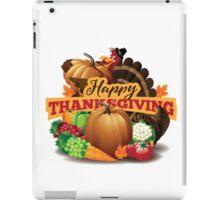 Happy Thanksgiving turkey with cornucopia iPad Case/Skin