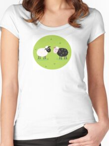 Black and white sheep. The difference - oposite sheep, black and white Women's Fitted Scoop T-Shirt