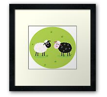 Black and white sheep. The difference - oposite sheep, black and white Framed Print