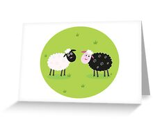 Black and white sheep. The difference - oposite sheep, black and white Greeting Card