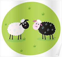 Black and white sheep. The difference - oposite sheep, black and white Poster