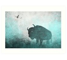 Teal Ghost: Bison Silhouette Art Print