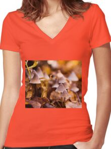 Fall Fungus Women's Fitted V-Neck T-Shirt