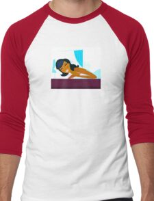 Time to sleep: Young woman is sleeping in the bed Men's Baseball ¾ T-Shirt