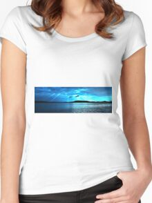 Blue Sunrise waterscape. Gosford. Photo Art. Women's Fitted Scoop T-Shirt
