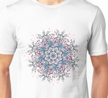 illustration circle or round Mandala with color black, pink and blue Unisex T-Shirt