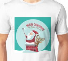 Merry Christmas Santa Claus taking a selfie with his reindeer on the rooftop. Unisex T-Shirt