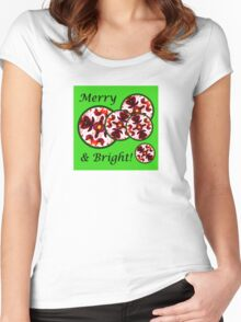 Merry & Bright Red Flower Christmas Ornament Design Women's Fitted Scoop T-Shirt