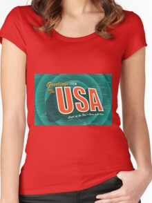 Vintage style Greeting Card or postcard of the USA Land of the Free and Home of the Brave. Women's Fitted Scoop T-Shirt