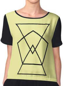 Pentagon Triangles Pattern Canary Yellow Chiffon Top
