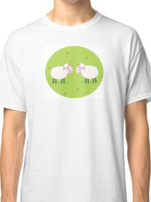 Two Happy and White Sheeps on green field - cute Characters Classic T-Shirt