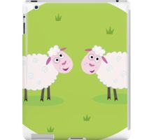Two Happy and White Sheeps on green field - cute Characters iPad Case/Skin