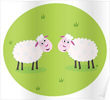 Two Happy and White Sheeps on green field - cute Characters Poster