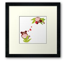 Monkey male and female in love looking each at other Framed Print