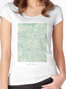 Sao Paulo Map Blue Vintage Women's Fitted Scoop T-Shirt