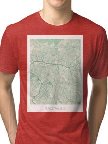 Sao Paulo Map Blue Vintage Tri-blend T-Shirt