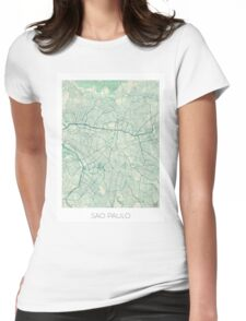 Sao Paulo Map Blue Vintage Womens Fitted T-Shirt