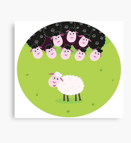 Black and white sheep. The difference - opposite sheep, black and white Canvas Print