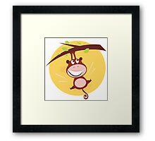 Brown cute monkey hanging from tree. Cartoon illustration of brown cute monkey Framed Print