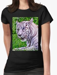 White Bengal Tiger Womens Fitted T-Shirt