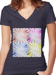 pop art,modern,contemporary art,colorful,fun,happy, Women's Fitted V-Neck T-Shirt