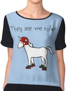 They See Me Rolling - Roller Derby Unicorn Chiffon Top