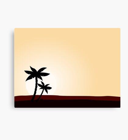 Desert sunrise background with black palm tree silhouette Canvas Print