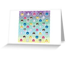 Tsum Tsum Alice in Wonderland - purple/green/blue/yellow Greeting Card