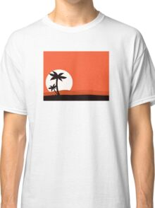 Retro holiday red background with sunset and palm silhouette Classic T-Shirt