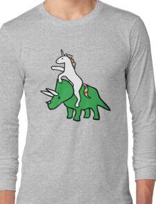Unicorn Riding Triceratops Long Sleeve T-Shirt