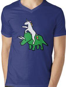 Unicorn Riding Triceratops Mens V-Neck T-Shirt