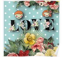 teal,mint,white,polka dots,flowers,floral,shabby chic,cute,boy,girl Poster