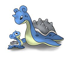 Lapras Pokemon Mother & Child Photographic Print