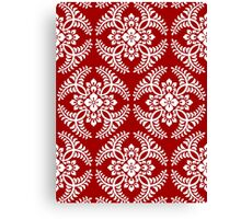 Japanese Medallion Pattern, Deep Red and White Canvas Print