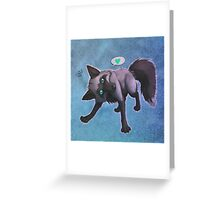Tomu the Silver Fox (blue) Greeting Card