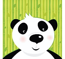 Black and white panda bear on bamboo leaf green background Photographic Print
