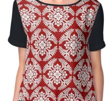 Japanese Medallion Pattern, Deep Red and White Chiffon Top