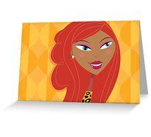 Luxury Girl as Lion inspired Girls illustration Greeting Card
