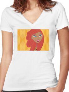 Luxury Girl as Lion inspired Girls illustration Women's Fitted V-Neck T-Shirt